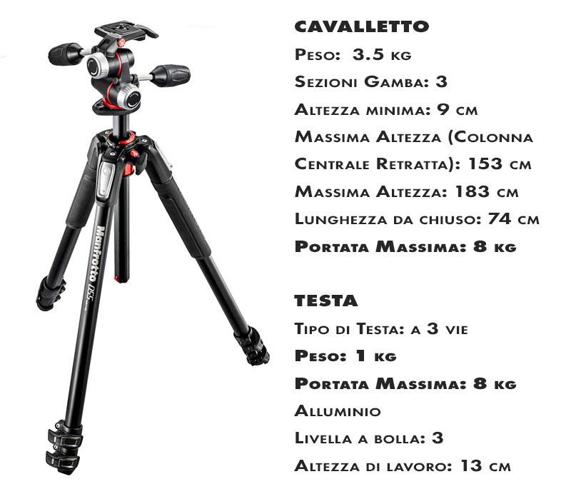 Cavalletto Manfrotto 055XPRO3 con testa a 3 vie