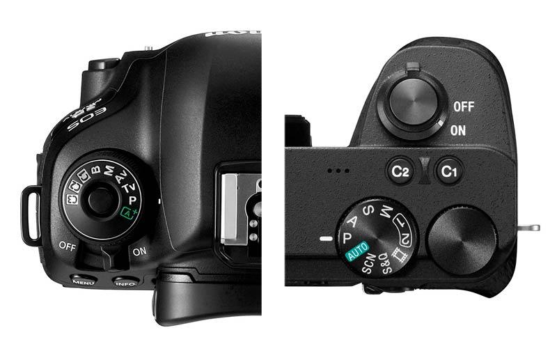 Ghiera di selezione delle modalità di scatto: Canon5D mkIV (a sx), Sony a6600 (a dx)