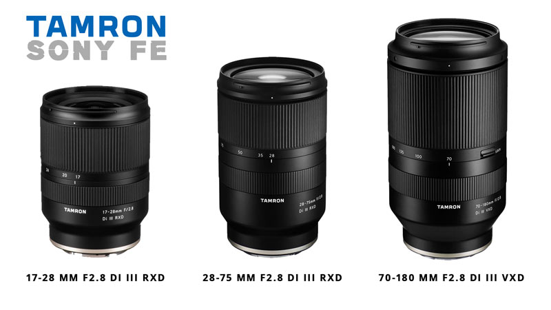Zoom Tamron 17-28 mm, 28-75 mm, 70-180 mm f/2.8 per Sony FE